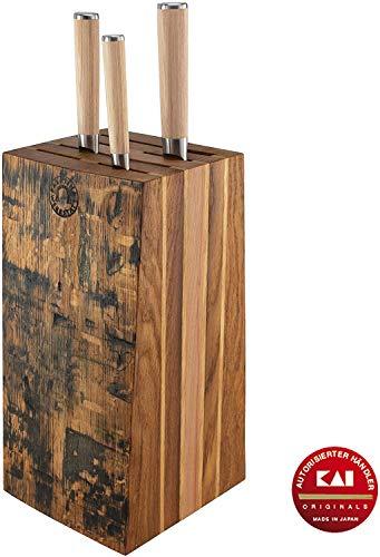 Palatina Werkstratt  | Exclusivo, bloque de cuchillos hecho a mano de viejos barriles | + | Cuchillo profesional Kai Shun clásico blanco Damasco Variante-D-