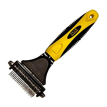 Pet Republique Professional Dematting Comb Rake Dual Sided Mat Brush Splitter - for Dogs Cats Rabbits Any Long Haired Breed Pets  Regular 12+23 Teeth