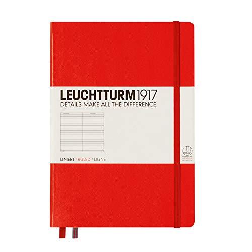 LEUCHTTURM1917 332933 Notizbuch Medium (A5), Hardcover, 251 nummerierte Seiten, Rot, liniert