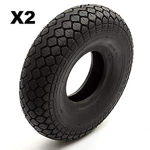 2 Tyre 4.00-5 Black Diamond Block Tread Fits Mobility Scooter 5 Inch Wheel Rim 4 Ply