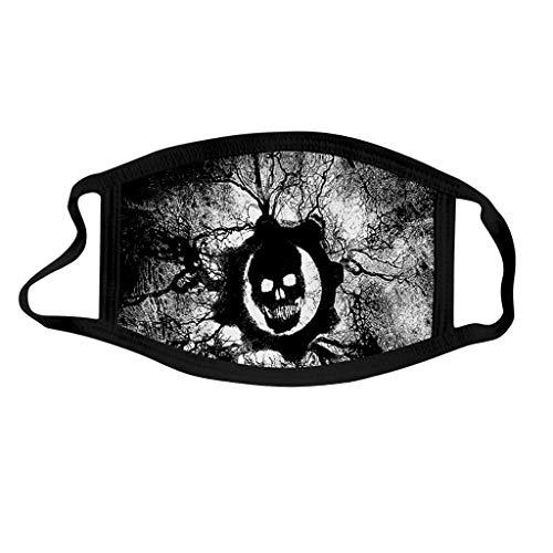 Shulky 3PC Kindermode Halloween Bedruckte Staubdichte Waschbare 3D Cartoon Druck Halloween Mundschutz Multifunktionstuch Nahtloses Gesicht Bandana Halstuch (G,3PC)