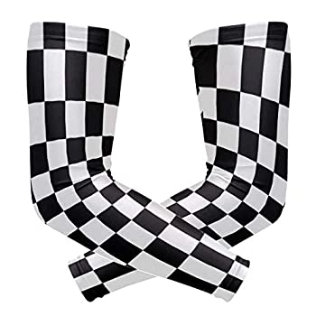 Waving Checkered Flag Unisex Sports Sunscreen Arms Tattoo Sleeves UV Protection Cooling Compression for Golf Cycling Running Fishing Basketball Outdoors