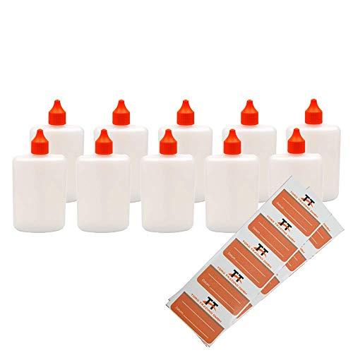 Ovale Liquid-Flaschen 10 x 125ml - Flachmann, Kunststoffflaschen aus weichem HDPE inkl. 10 Etiketten (weiß/transparent) - Liquid Flasche - Tropfflaschen,Dosierflaschen,Dropper Flaschen,Quetschflaschen