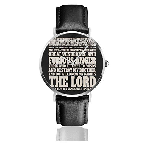 Unisex Business Casual Jules Winnfield Bibel Zitat Pulp Fiction Uhren Quarz Lederuhr