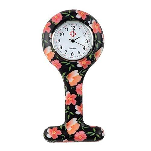 Women T Shape Pocket Durable Watch Analogue Quartz Clock Watch Silicone Pocket Brooch Clip Fob Nurse Watch Orange Holiday GFT