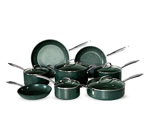 OrGREENiC Diamond Granite 13 Piece ALL in One Cookware Set with Non-stick Ceramic Coating,...