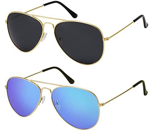 La Optica B.L.M. Herren Sonnenbrillen Damen UV400 Pilotenbrille Fliegerbrille Doppelpack Set Gold Farben (Gläser: 1 x Grau, 1 x Blau Verspiegelt)