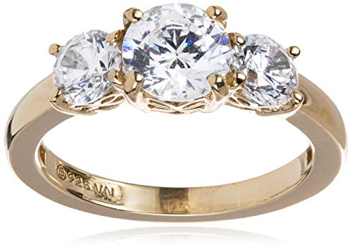 Amazon Collection Yellow-Gold-Plated Sterling Silver Round 3-Stone Ring made with Swarovski Zirconia (2 cttw), Size 6