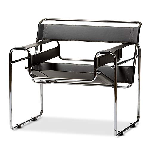 Baxton Studio Modern Leather Accent Chair, Black...