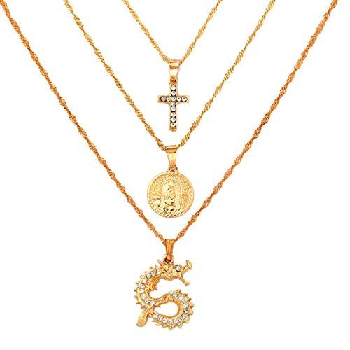 SONGK Collares Bohemios Multicapa para Mujeres, Hombres, Oro, Mariposa, Retrato, Moneda, Cruz, Cristal, gargantillas, Collar, joyería de Moda, Regalos