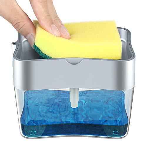 BluePower Juego de dispensador de jabón líquido, Dispensador de Bomba de jabón y Soporte de Esponja para dispensador de jabón de Cocina Dispensador de Lavabo sobre encimera,dispensador de detergente