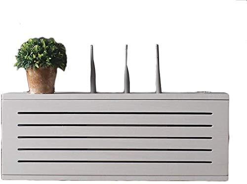 LUYIYI Decodificador a la Red de Madera sólida Blanca de Pared Router de Almacenamiento Caja de TV en el Casquillo Fila Oclusión Caja inalámbrica Wi-Fi del Router estantería, sin perforación (Tamaño: