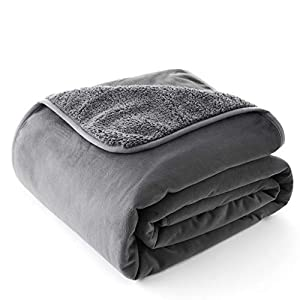 Chee Ray 100% Waterproof Dog Blanket 60 x 40 in, Soft Pet Pee Proof Throws for Couch Sofa Bed, Reversible Plush Protector Cover for Small/Medium/Large Dogs Puppies Cats, Grey