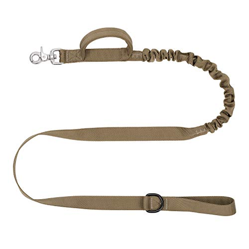 ICEFANG Tactical Dog Leash,4ft K9 Training Bungee Lead with Double Handle,Stainless Steel Clasp,D-Ring Hook to Dog Poop Bags (Coyote Brown) …