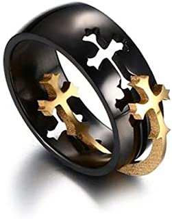 Two Tone Hollow Stainless Steel Removable Puzzle Christian Cross Ring Band for Men Women,Size7-14