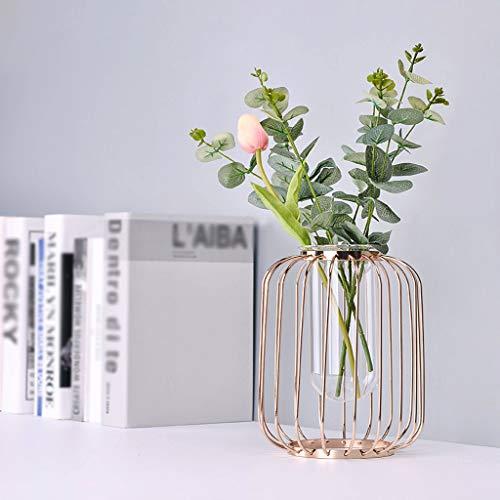 Gaddrt Nordic Minimalistisches Blumenregal Eisen Geometrische Kurze Vase Blumenständer Ornamente Drahtvase (Rose Gold)