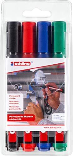 Edding 300-4-S - Estuche de 4 marcadores permanentes con pun