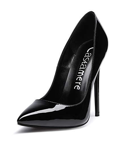 CASTAMERE Mujer Zapatos de Tacón Zapatos Mujer Tacon Fiesta Sexy Clásico Stilettos High Heels Forro Negro Zapatos Tacones Altos 12cm Charol Negro EU 37