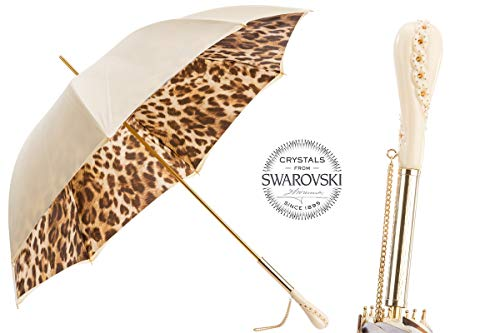 Best Review Of Pasotti 189 52417-11 Z5 - Creamy-White Leopard Print Umbrella. Double Cloth