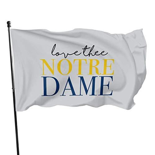 JDQP Love Thee Notre Dame - Drapeaux monocouche en Polyester, Drapeau de Pied 3 'X 5', bannière 3 X 5/90 X 150 cm pour l'extérieur