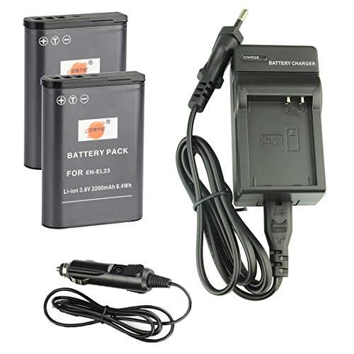 DSTE® Batería de Repuesto DC152E Cargador de Viaje para cámara Digital Nikon EN-EL23 Coolpix P600 COOLPIX S810°C P900 P900S