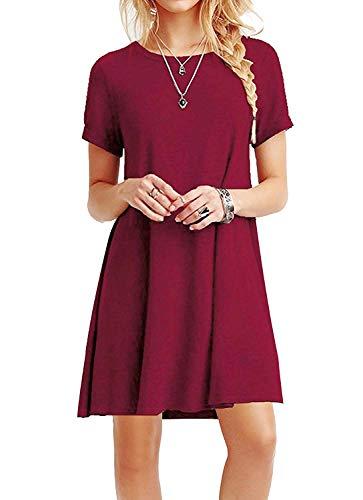 YOUCHAN Kleid Damen Sommerkleid Freizeitkleid Shirtkleid T-Shirt Bluse Tunika Kurzarm Leger Langes Locker Kleider-Weinrot-L