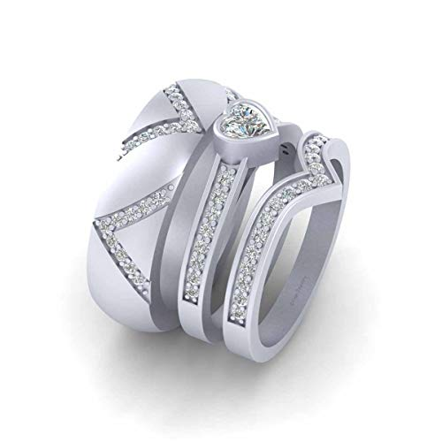 0.75cttw Diamond Heart Engagement Ring Wedding Band Set Solid 925 Sterling Silver Matching Promise Rings