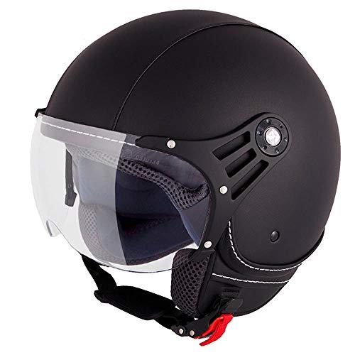 Vinz Laghi Motorradhelm | Roller Helm Jethelm | Jet Helm Fashionhelm |Lederhelm in Gr. XS-XL | Helm mit Visier | ECE Zertifiziert | Schwarz