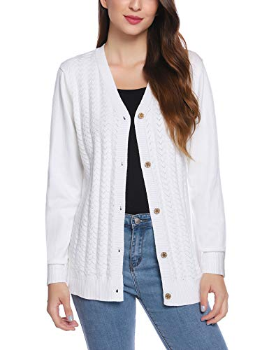 iClosam Women Long Sleeve V-Neck Button Down Knit Cardigan Sweater White