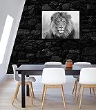 JESC African Lion Black White Blue Eyes Lion Wall Art Animal Lion Print on Canvas Gift for Leader Boss Wall Decor No Frame