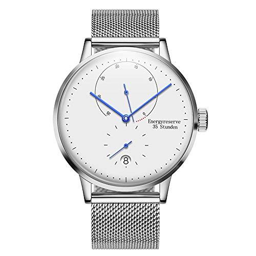 irugh Automatische mechanische Uhr im minimalistischen Stil Bauhaus Herrenuhr aus Edelstahl mit Gürtelkalender Tiefe wasserdichte Uhr