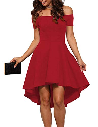 Sarin Mathews Women Off The Shoulder Short Sleeve High Low Cocktail Skater Dress Red
