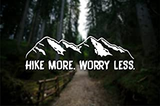 CCI Hike More Worry Less Wanderlust Decal Vinyl Sticker|Cars Trucks Vans Walls Laptop| White |7.5 x 2.3 in|CCI1274