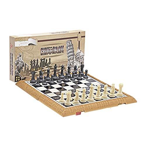 LICHUAN Juego de ajedrez plegable de plástico estándar de viaje internacional juego de tablero de ajedrez con piezas magnéticas de ajedrez para juegos de mesa de fiesta familiar (tamaño grande: