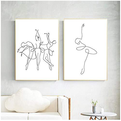 Mulmf Abstract Ballerina Print Een lijn Body Tekening Art Canvas Schilderen Zwart Wit Foto Dans Poster Meisje Slaapkamer Muurdecoratie - 40X50Cmx2/Unframed