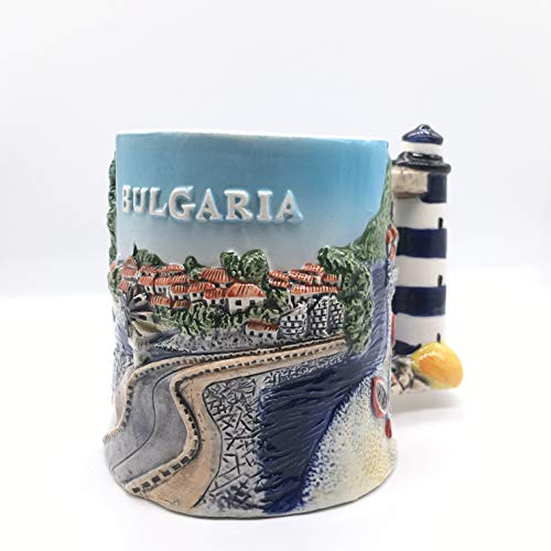 Weekinglo Leuchtturm Sofia Varna Plovdiv Bulgarien 3D Emboss Handgemalte Keramikkaffeetasse Tasse Handgefertigte Handwerk Tourist Travel Souvenir Collection Geschenk 12 Unze
