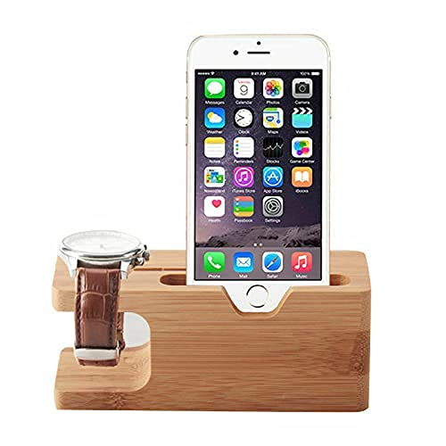 Bamboo Wood Smart Watch Charging Dock Station Charger Stand Holder For iPhone iWatch