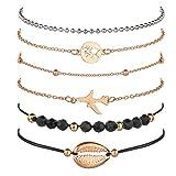Qinlee Lot de 6 Femme Bracelet Coquillage Cauris Coquille Love Naturelle Bohème Naturelle Cordon Retro Reglable Bracelet en Alliage Tressé Bracelets Bijoux Femmes d'or Avion et Carte du Monde