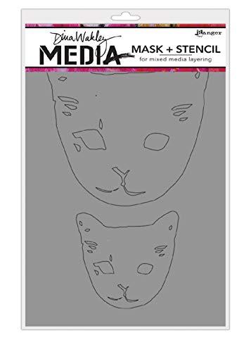 Ranger Dina Wakley Media-Schablonen, 22,9 x 15,2 cm, Katzenkopf-Masken