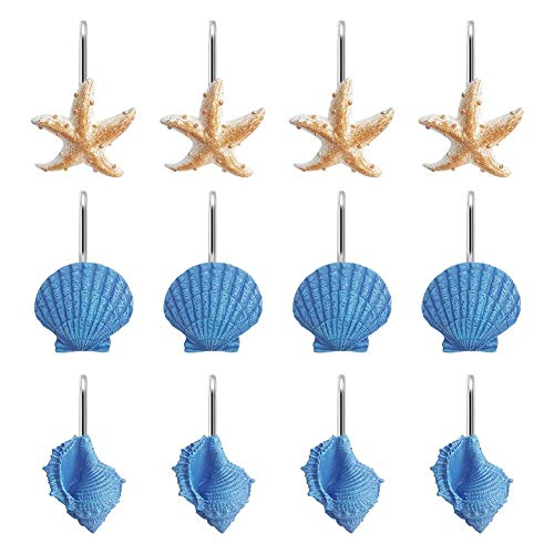 Grace life Set of 12 Starfish Seashell Conch Style Shower Curtain Hooks Rust Proof Rings Bathroom Hangers Resin Decorative Shower Curtain Hook