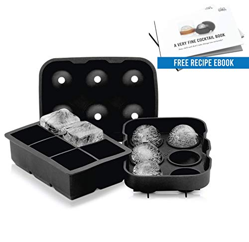 Arctic Chill 2 Inch Round Ice Ball Mold Maker + 2 Inch Large Ice Cube Tray Combo Pack, Keeps Your Whiskey & Bourbon Chilled Longer, Made BPA Free & FDA Approved Silicone, Includes Recipe eBook