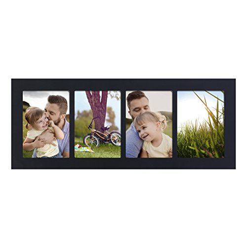 Adeco 4 Openings Decorative Black Wood Linear Divided Wall Hanging Picture Photo Frame - Made to Display Four 5x7 Photos