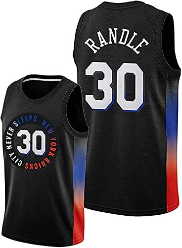 Camiseta De Baloncesto para Hombre De La NBA, New York Knicks # 30 Julius Randle Camisetas De Baloncesto, Chaleco Sin Mangas Swingman, Ropa Superior,Negro,L