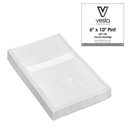 Bolsas de sellado al vacío de Vesta Precision | 15,2x25,4 cm (6x10 pulg.) |100 piezas | ideal para FoodSaver, Seal-a-Meal | Libre de BPA, servicio pesado | Ideal para almacenar alimentos o sous vide