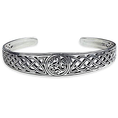 Armreif Triskele mit keltischen Knoten 925 Silber Höhe 1,6 cm