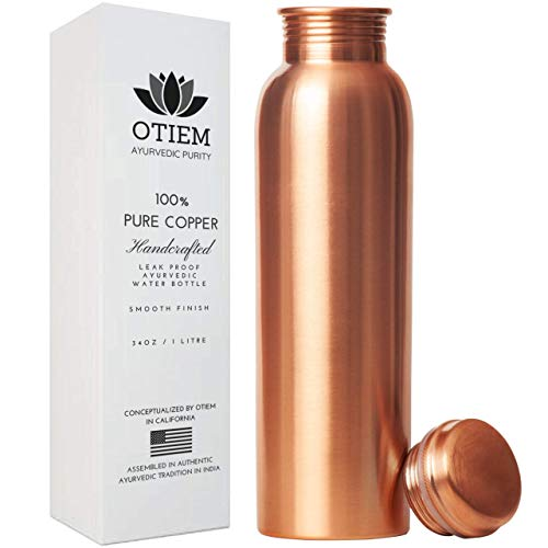 Otiem 100 Pure Copper Water Bottle 34 Oz Copper Bottle Water with Lid – Ayurvedic Copper Water Bottle – Copper Water Vessel - Drink More Water Bottle – Large -Leak Proof - Smooth Finish