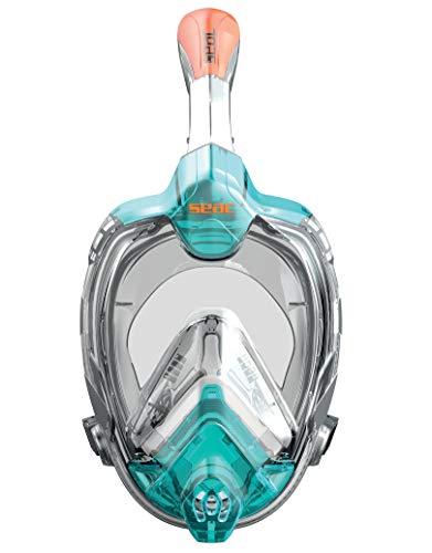 SEAC Libera Máscara intégral de Snorkeling, Adultos Unisex, Aguamarina/Anaranjado, S-M