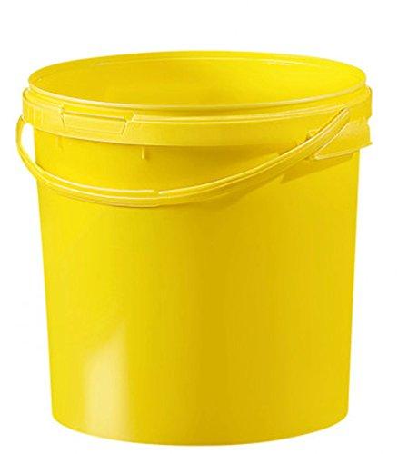 Fuduu.de Kunststoff Eimer farbig 21,1 ltr. mit Deckel (1 Stück) (gelb)
