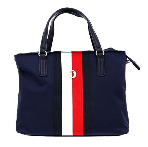 Tommy Hilfiger Damen Handtasche Tasche Henkeltasche Poppy Satchel Blau