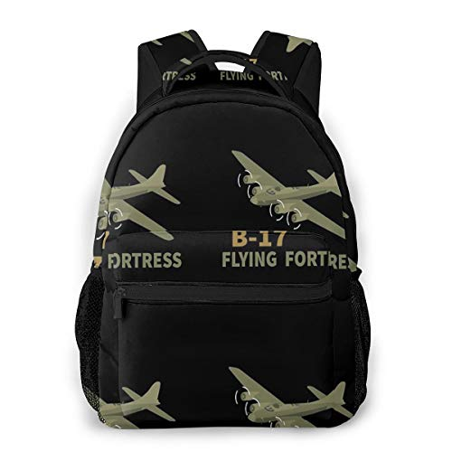 B-17 Flying Fortress Bomber Ww2 Airplane Product Causal Daypack Rucksack Vintage College School Bags Multipurpose Laptop Backpack for School/Business/Work/Men/Women